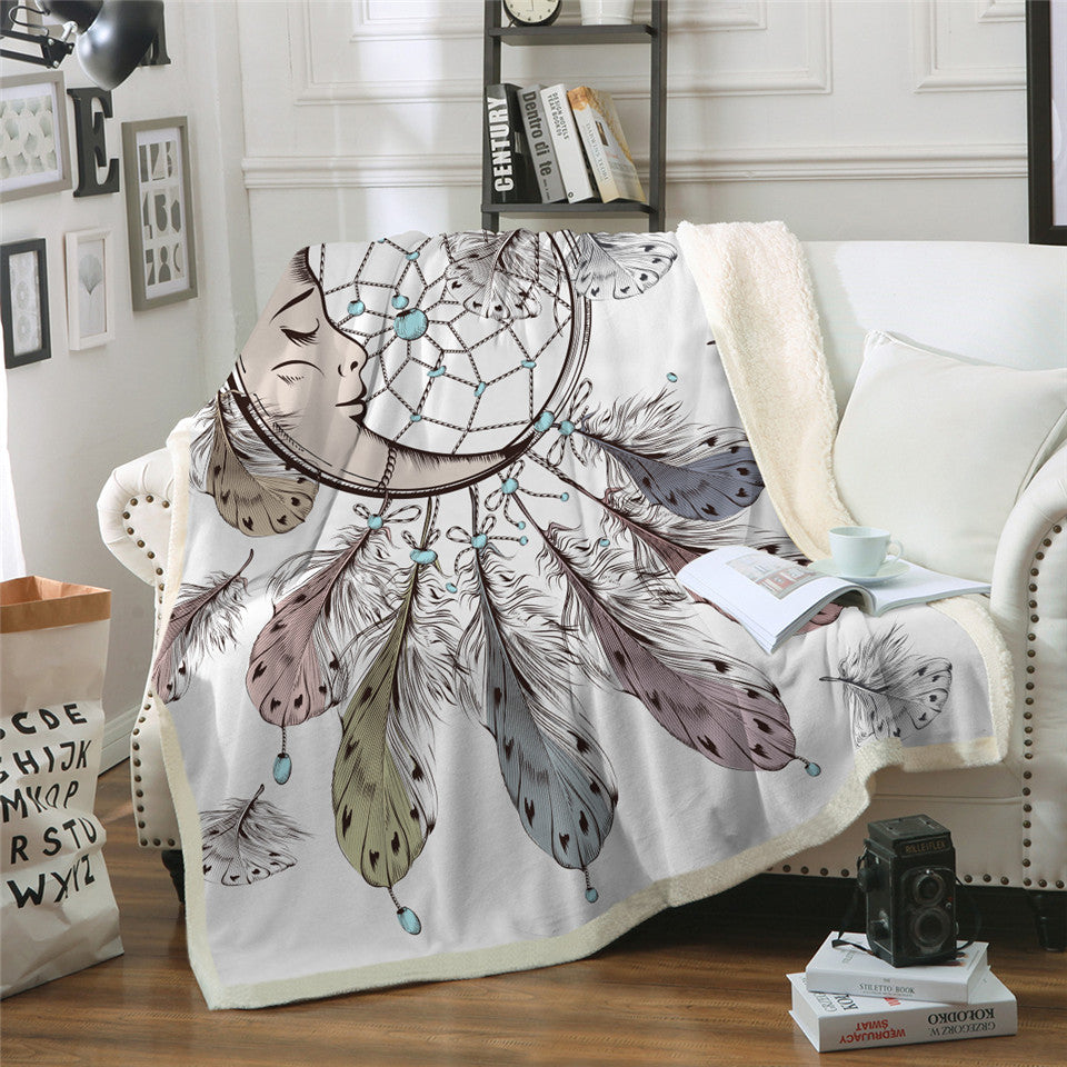 Dreamcatcher Sherpa Blanket for Beds Velvet Plush Sleeping Moon Throw Blanket - Dropshipful.com