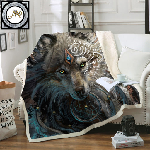 Wolf Warrior by SunimaArt Beds Blanket Sherpa Fleece Plush Bedclothes Indian Wolf With Dreamcatcher Throw Blanket cobertor - Dropshipful.com