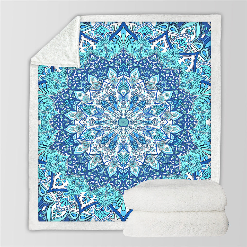 Bohemian Blanket for Beds Floral Paisley Thin Quilt Sky Blue Mandala  Throw Blanket - Dropshipful.com
