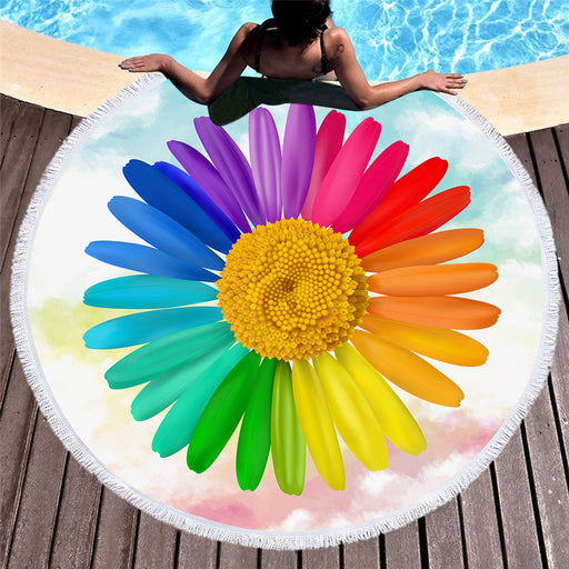 3D Flower Large Round Beach Towel Rainbow Colors Floral Blanket Microfiber Yoga Mat 150cm - Dropshipful.com