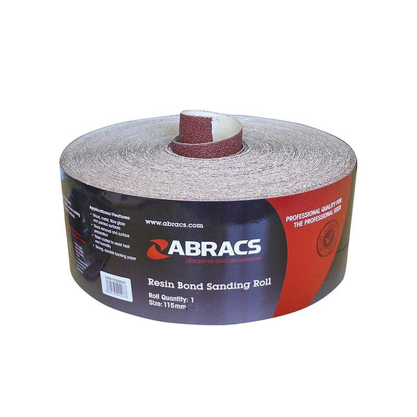 Abracs 115mm Resin Coated Red Sandpaper Rolls - 50 Metre