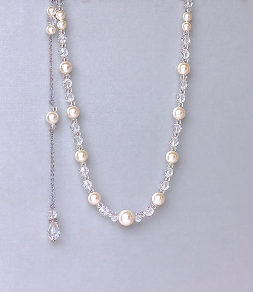 Pearl and Silver Crystal Back Drop Necklace, KITTY