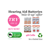 Size 13 Hearing Aid Batteries (QTY 48) PowerOne Rayovac iCellTech Zenipower 'Mix it Up'