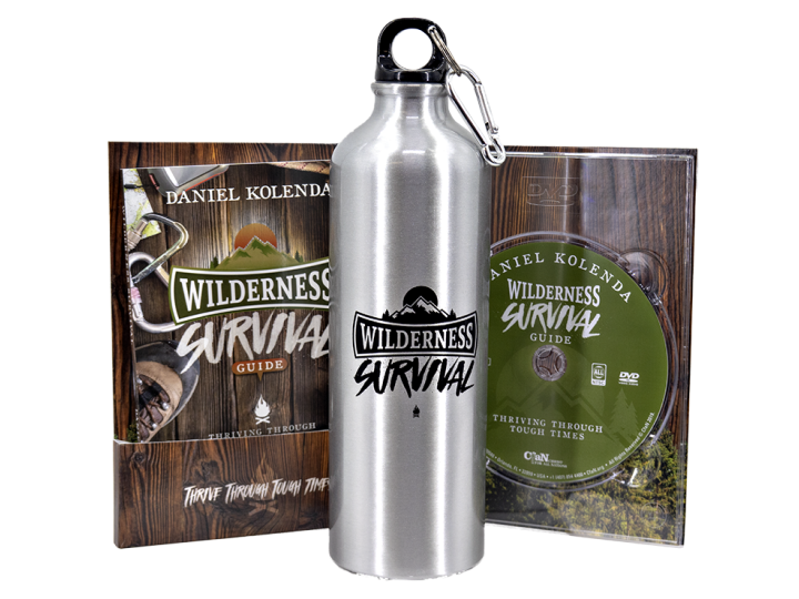 Wilderness Survival Guide Bundle (Book + DVD + Water Bottle)