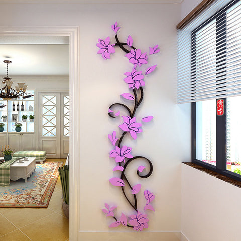 Acrylic Crystal 3D Flower Wall Stickers