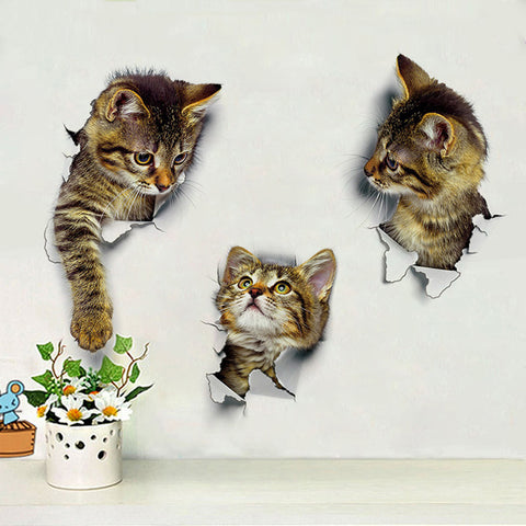 3D Cats Vinyl Wall Stickers