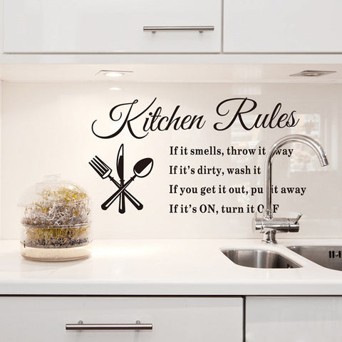 """Kitchen Rules"" Vinyl Wall Stickers"