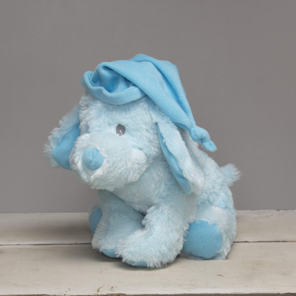 "Plushible ""Buffy"" the 10in Blue Plush Stuffed Puppy with Hat"