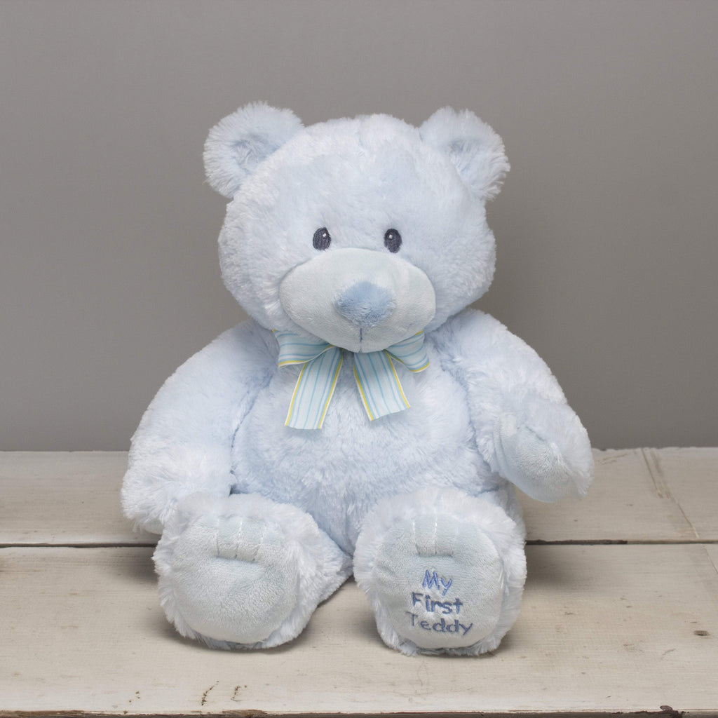 "Plushible Plush ""Owen"" the 17in Blue My First Teddy Bear by Russ Berrie"