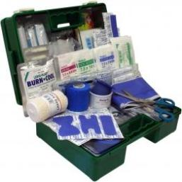 First Aid Kit Medium Catering In a Green Wall Mountable Box