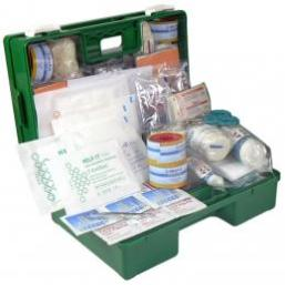 First Aid Kit Industrial & Commercial 1-25 Person In a Green Plastic Wall Mountable Box