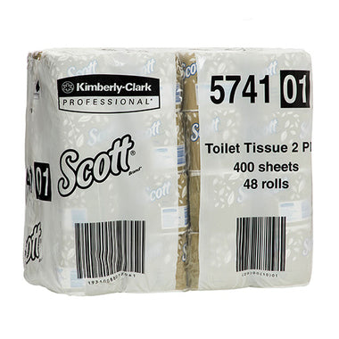 Kimberly Clark Scott 5741 White 2-Ply Wrapped Toilet Roll