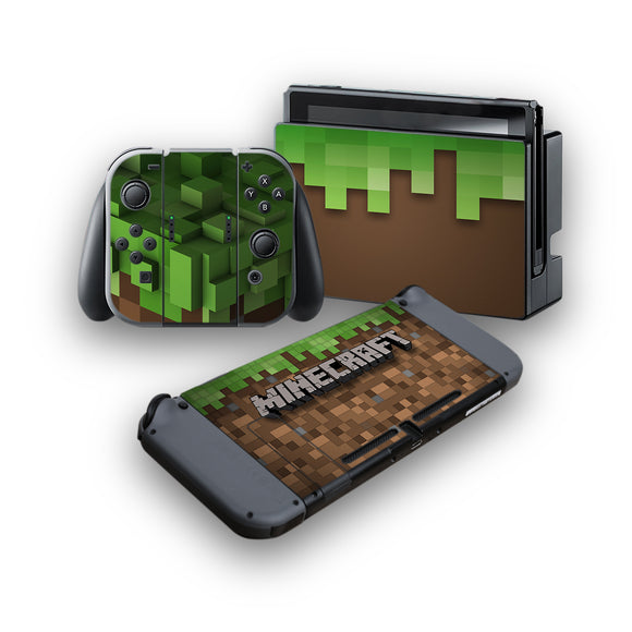 Minecraft -Protective Vinyl Skin Decal Cover for Nintendo Switch Console & 2 Controllers