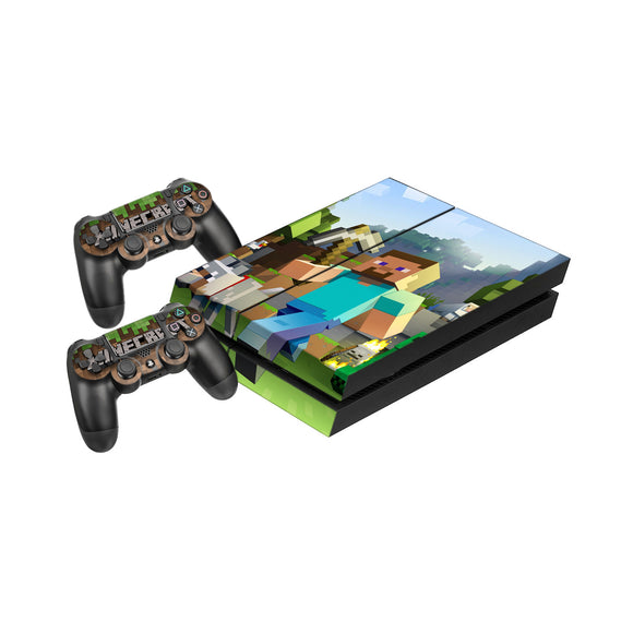 Minecraft -Protective Vinyl Skin Decal Cover for PlayStation 4 Console & 2 Controllers