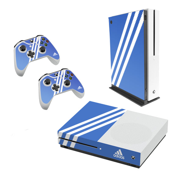 Adidas Blue Stripe -Decal Style Skin Set fits XBOX One S Console and 2 Controllers