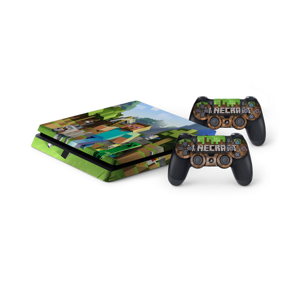 Minecraft -Protective Vinyl Skin Decal Cover for PlayStation 4 Slim Console & 2 Controllers
