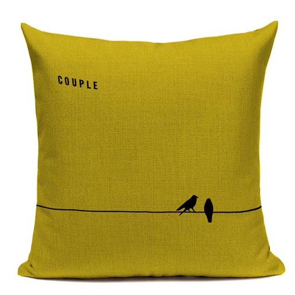 Fashionable Throw Pillow Cover Birds on a Wire Yellow and Black 18 x 18 inch - Premium Pillow Store