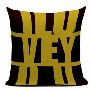Fashionable Throw Pillow Cover I LOVE YOU, Yellow and Black 18 x 18 inch - Premium Pillow Store