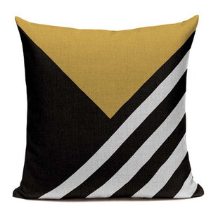 Fashionable Throw Pillow Cover Yellow Black and White Abstract 18 x 18 inch - Premium Pillow Store