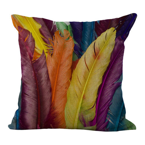 Colorful collection of feathers, Pillow cover 18x18 - Premium Pillow Store