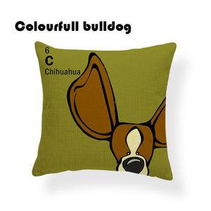 Colorful Cartoon Dog Print Chihuahua 18 x 18 inch by Colorful Bulldog - Premium Pillow Store