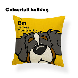 Colorful Cartoon Dog Print Bernese Mountain Dog 18 x 18 inch by Colorful Bulldog - Premium Pillow Store