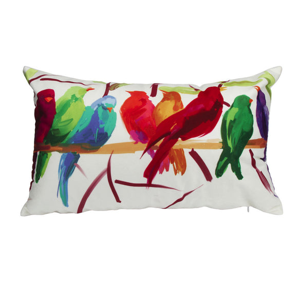 Decorative Pillow Cover with Bird Print 12 x 20 Inches - Premium Pillow Store