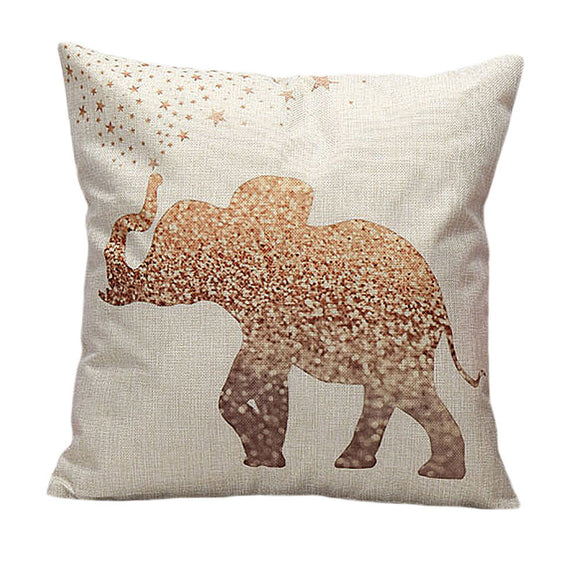 Vintage Elephant Linen Pillow Case 18 x 18 inch - Premium Pillow Store