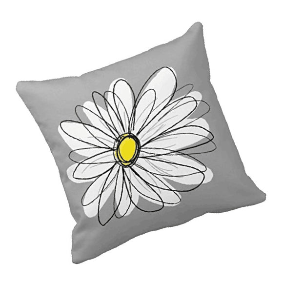 Decorative White daisy Pillow Cover 18 x 18 inch - Premium Pillow Store