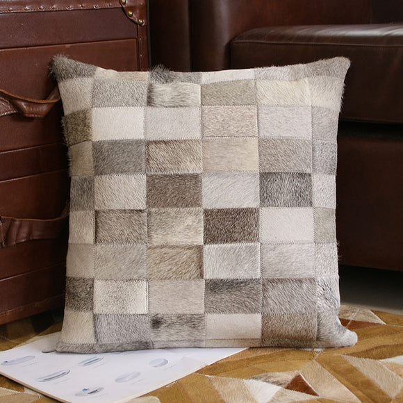 Square cowhide  fur pillow cushion with core , natural color hand made single side fur sofa throw - Premium Pillow Store