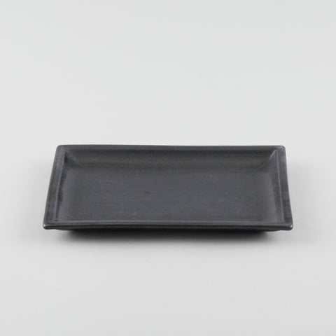 Rectangle Plate with Risen Rim - Black (L)