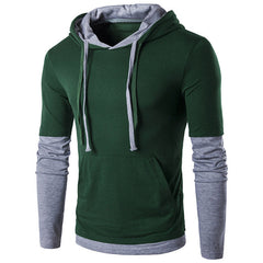 Men's Hooded Stitching Design Tops Men Long Sleeve Slim Male Jacket - China