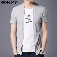 Short Sleeve T Shirt Men Brand Clothing Print Pure Cotton Cardigan - China