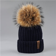 Fluffy Pom Winter Beanie - China