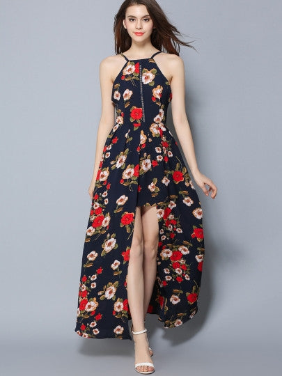 Backless Asym Pleated Floral Women's Maxi Dress - China