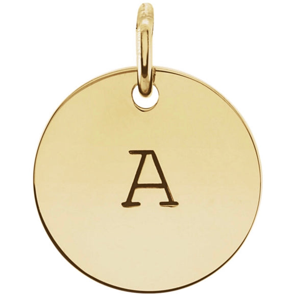 Solid Gold Round Initial pendant