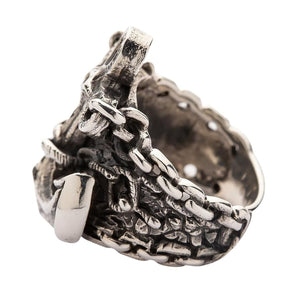 925 Sterling Silver Anchor Mens Ring