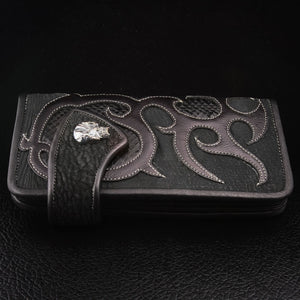black custom leather chain wallet