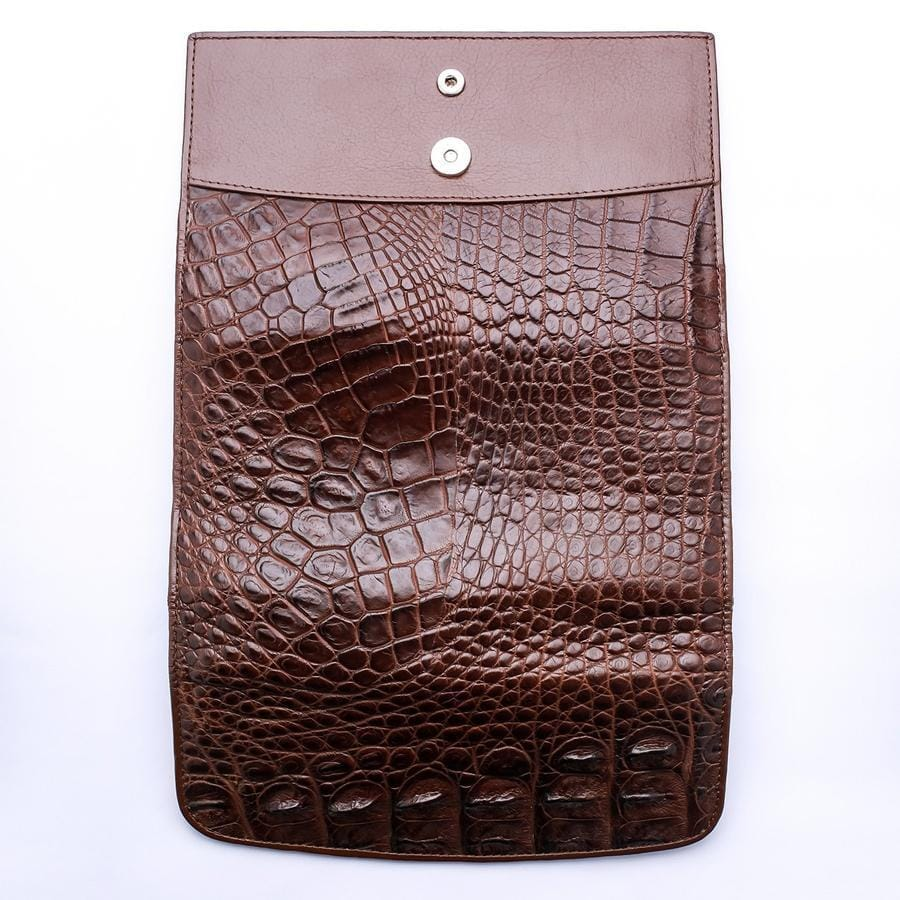 Dark Brown Genuine Crocodile Backbone Skin Womens Wallet