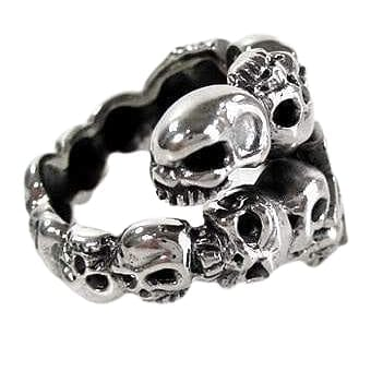 Diamond Star Rock Skull Ring