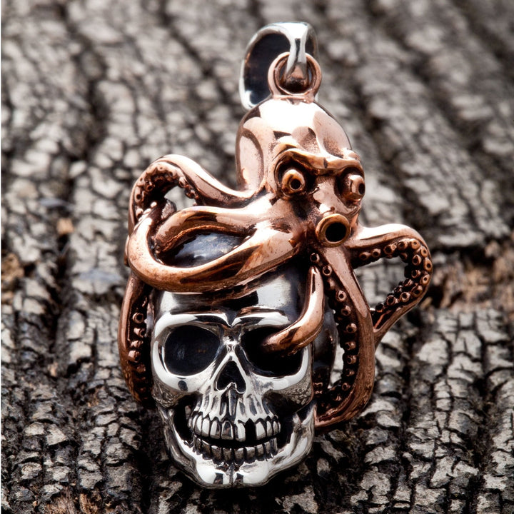 bronze 925 sterling silver gothic octopus pendant