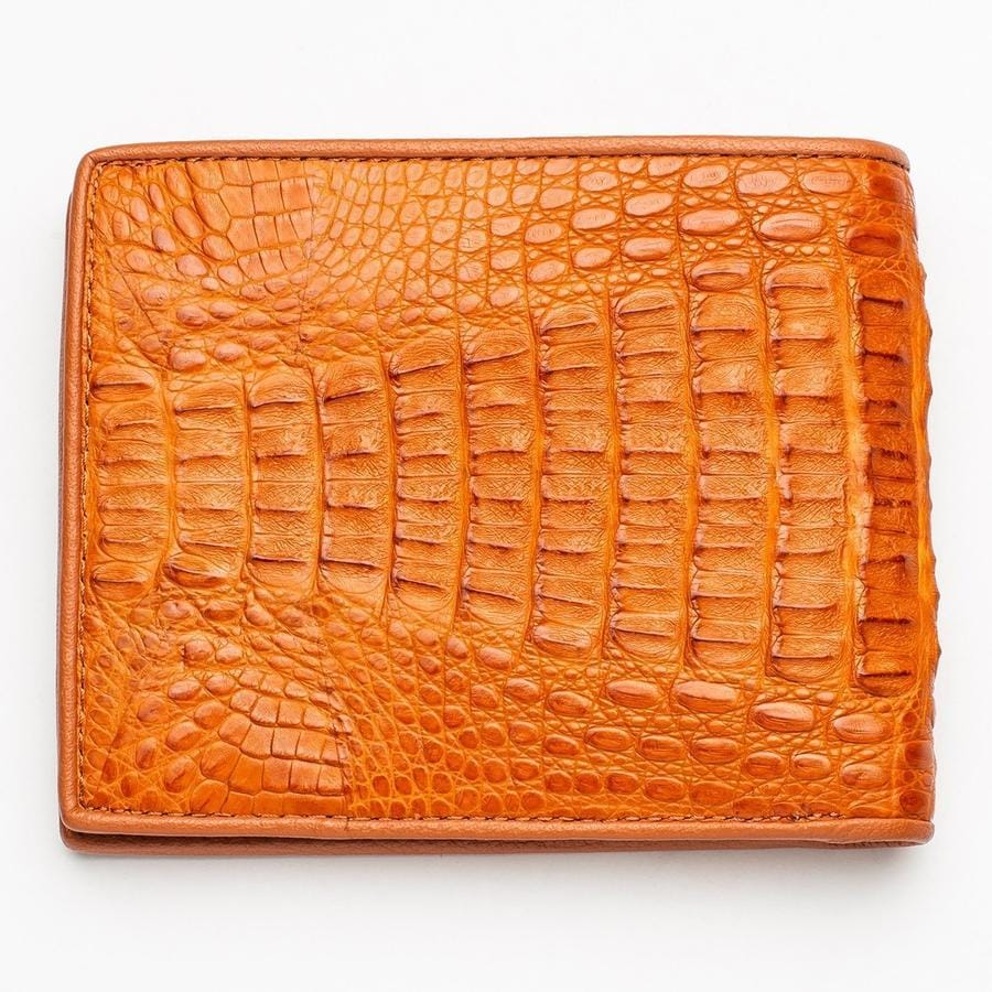 Light Brown Genuine Crocodile Hornback Skin Mens Wallet