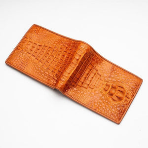 brown genuine crocodile leather wallet