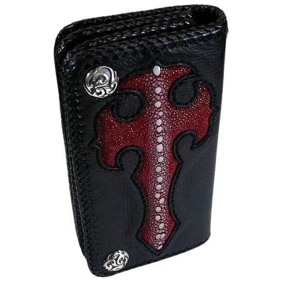 gothic cross leather wallet for men