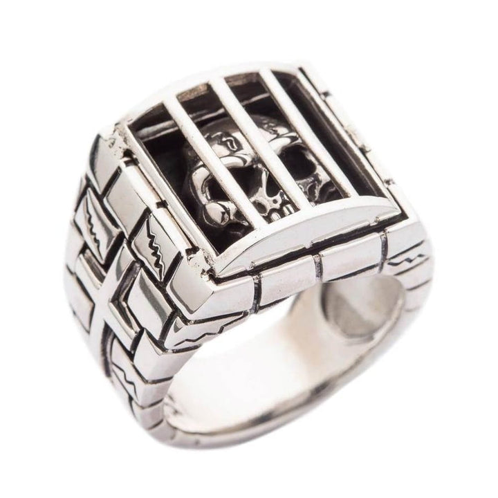 925 sterling silver prisoner skull ring