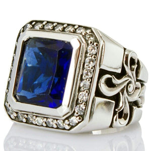 sterling silver sapphire men's ring