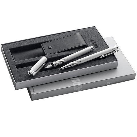 Lamy Logo V66 Brushed Steel 06 Fountain Pen and 206 Ballpoint Pen Gift Set - KSGILLS.com | Online Penshop Malaysia