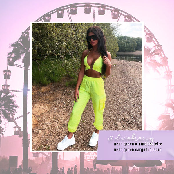 neon green o-ring bralette + neon green cargo trousers