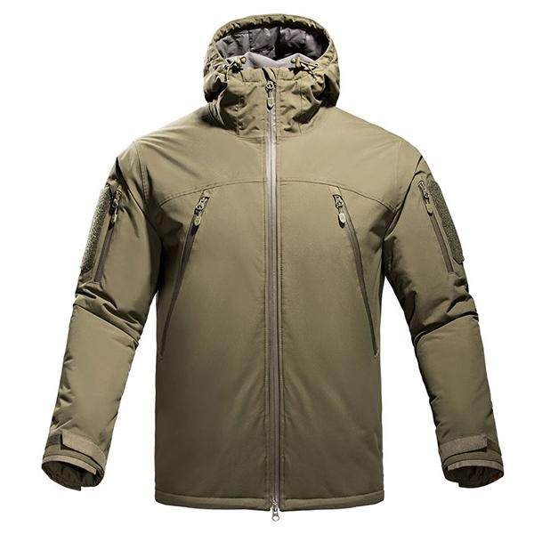 Military Tactical Outdoor Winter Quilted Hooded Jacket For Men Breathable Weatherproof - in Grey or Khaki