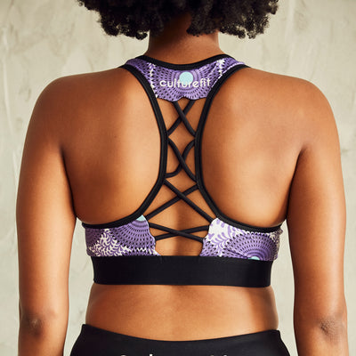 Culture Fit Purple Ankara Sports Bra Rear View